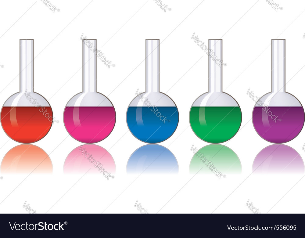 Set of colorful laboratory glassware vector
