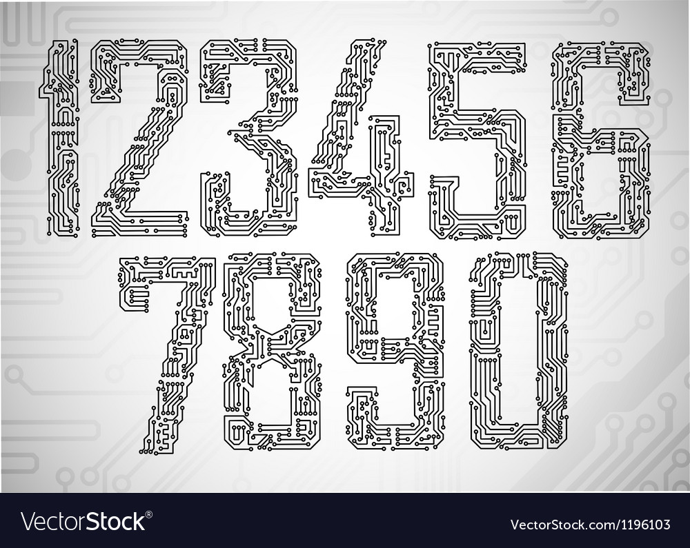 Set of circuit board style letters vector