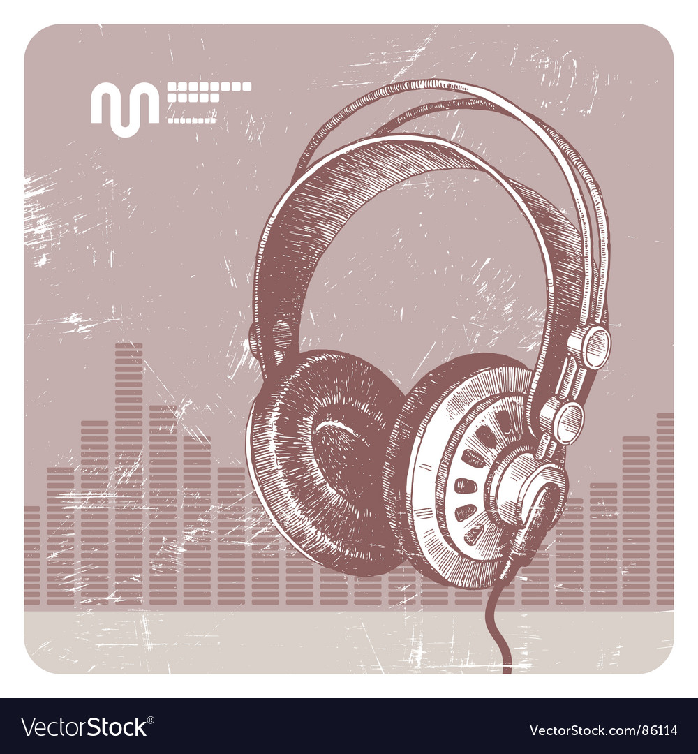 Hand drawn headphones vector