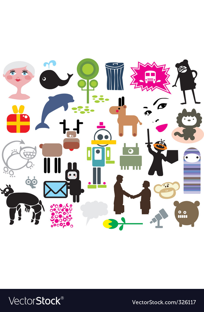 Mixed icons vector