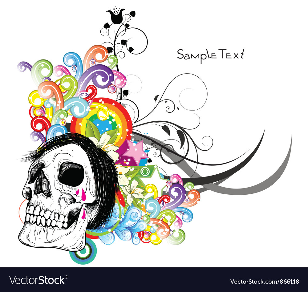 Free skull with floral vector