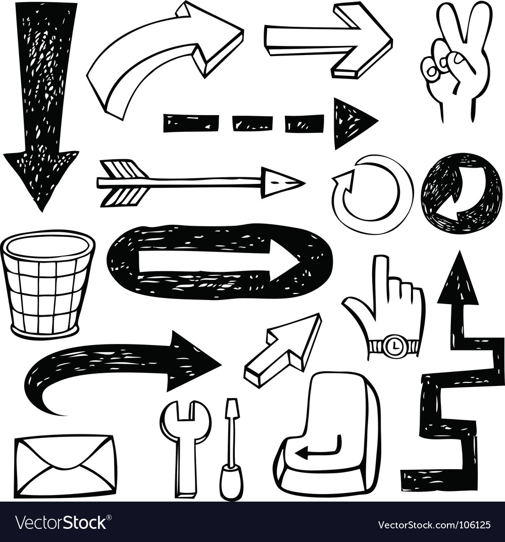Set of doodle arrows vector