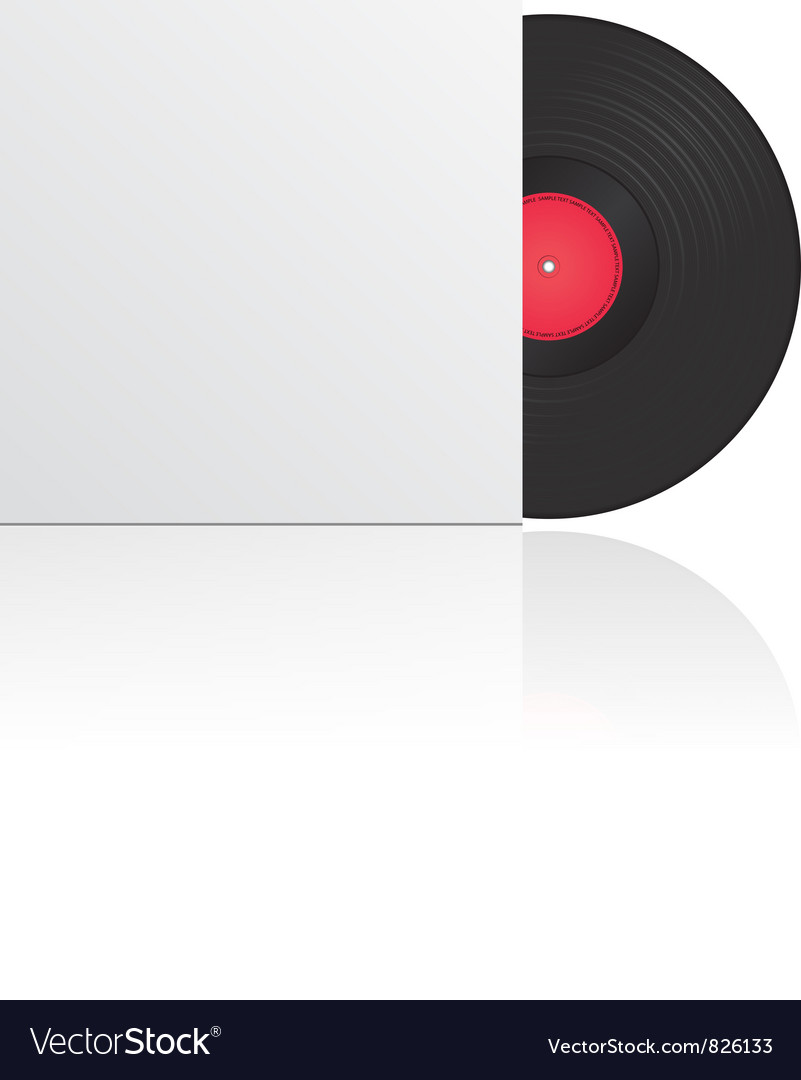 Vinyl record in envelope vector
