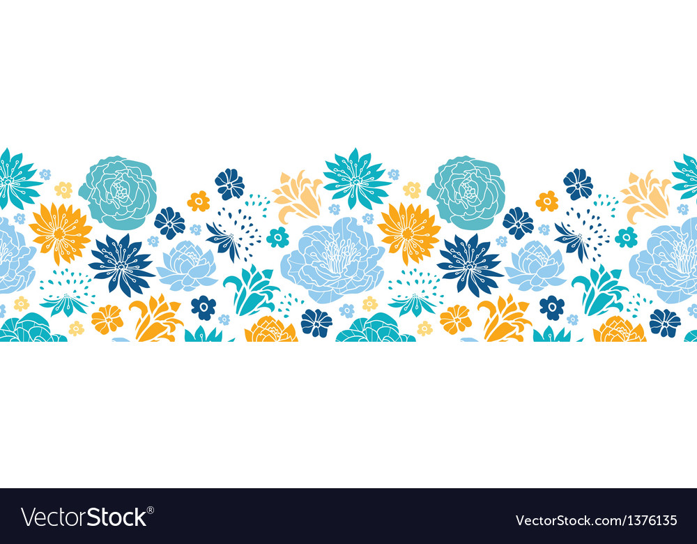 Blue and yellow flowersilhouettes horizontal vector