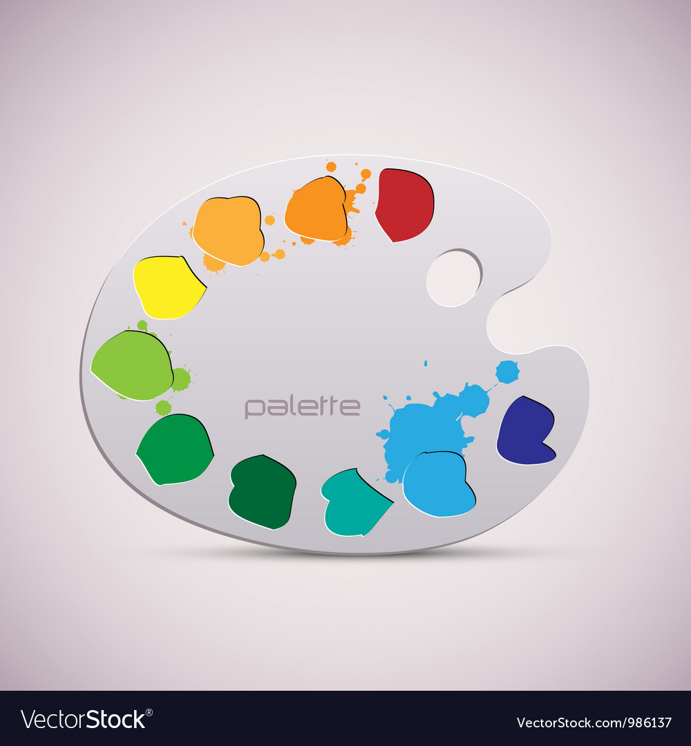 Wooden art palette color vector