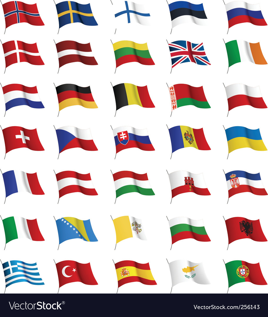 All european flags vector