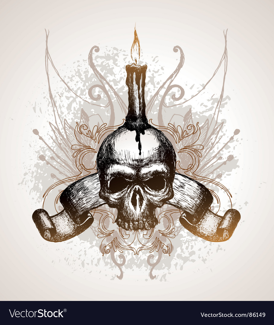 Skull scroll and candle vector
