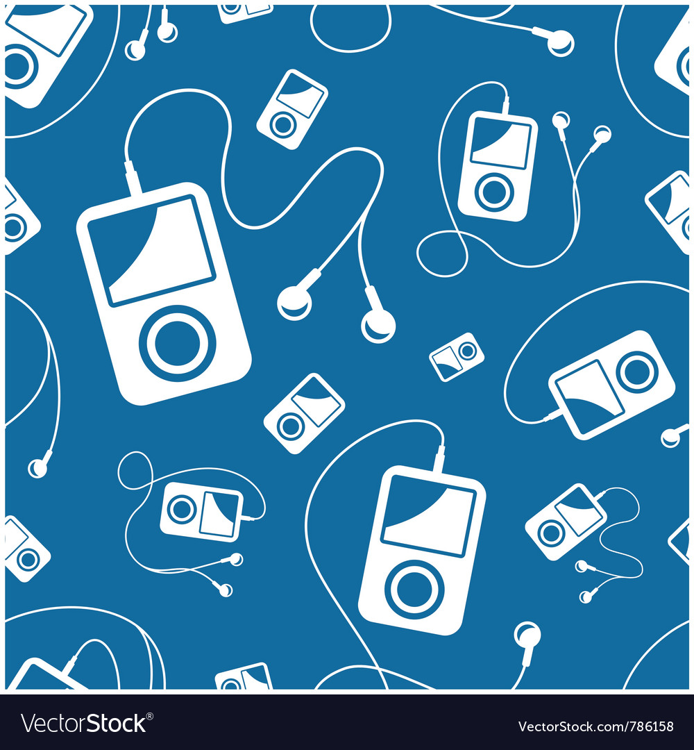 Seamless mp3 player with earbuds background vector