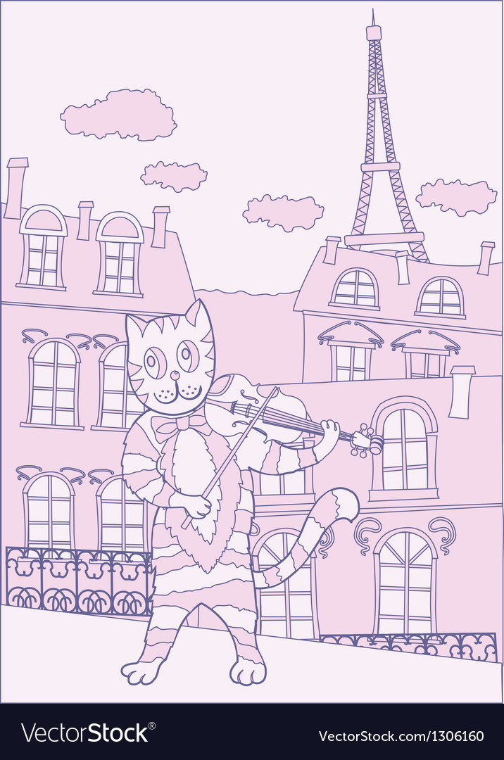 Cat the violinist in pink paris vector