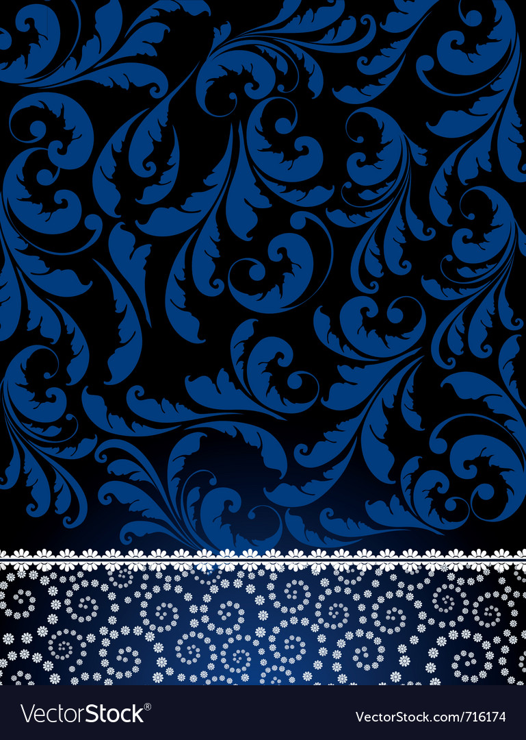 Floral blue pattern vector