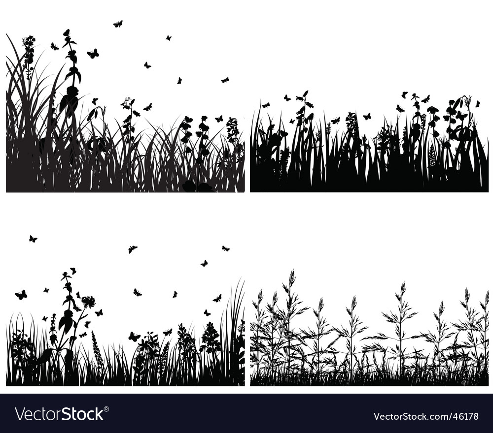 Set of grass silhouettes vector