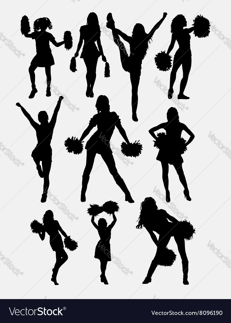 Girl Cheerleader Pose Silhouette Vector By Cundrawan703