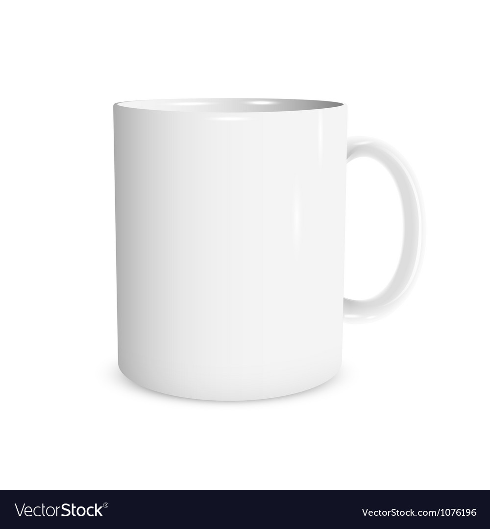 Realistic white cup vector