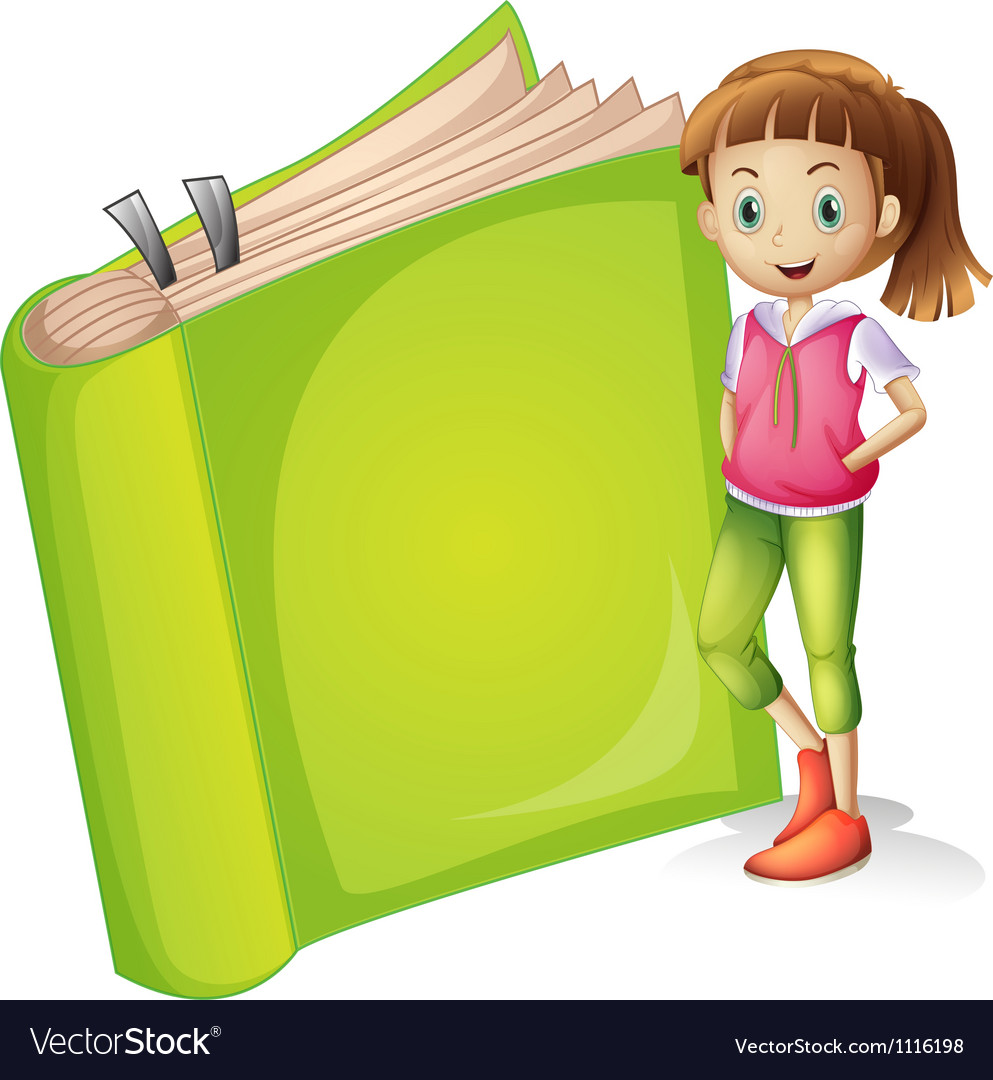 A girl and a book vector