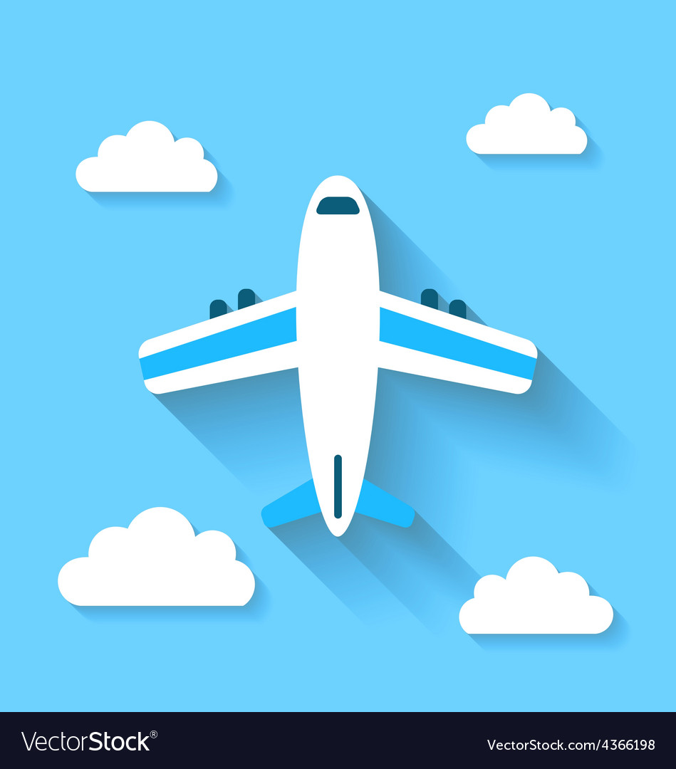 Simple icons of plane and clouds with long shadows
