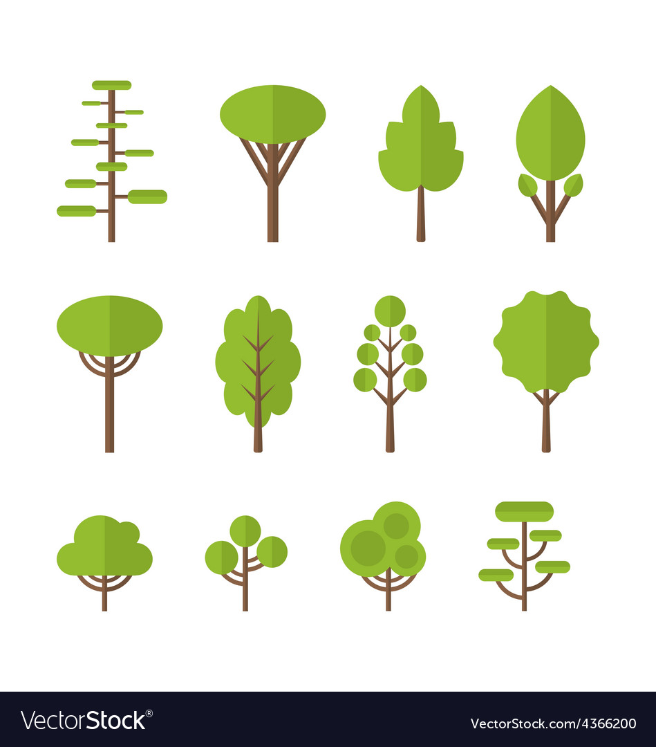 Collection set flat icons tree garden bush free vector by