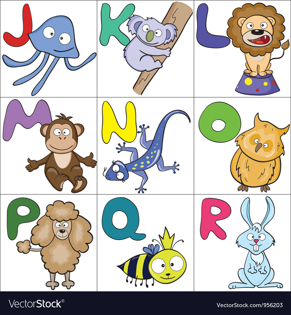 Alphabet with cartoon animals 2 vector