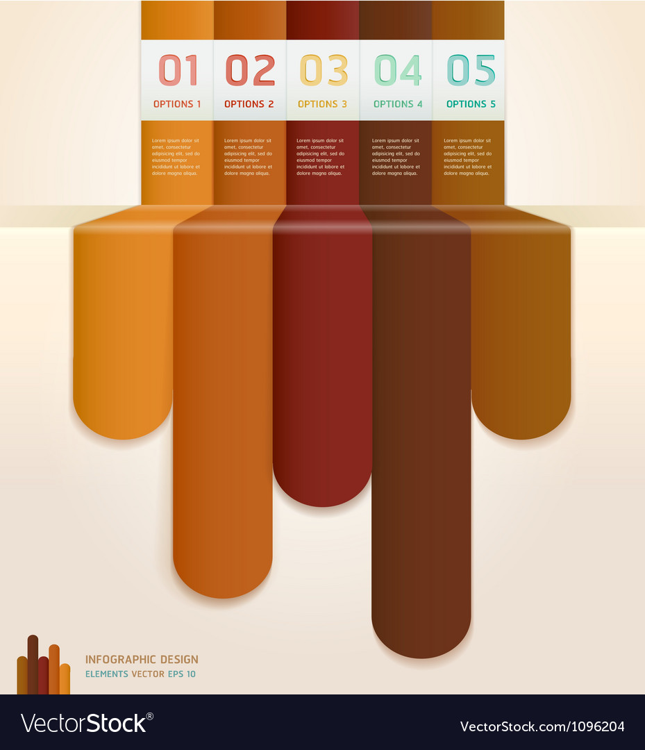 Brown color number options banner template vector