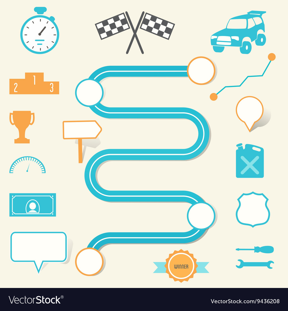 Race road map planning infographic template vector by Batshevs ...