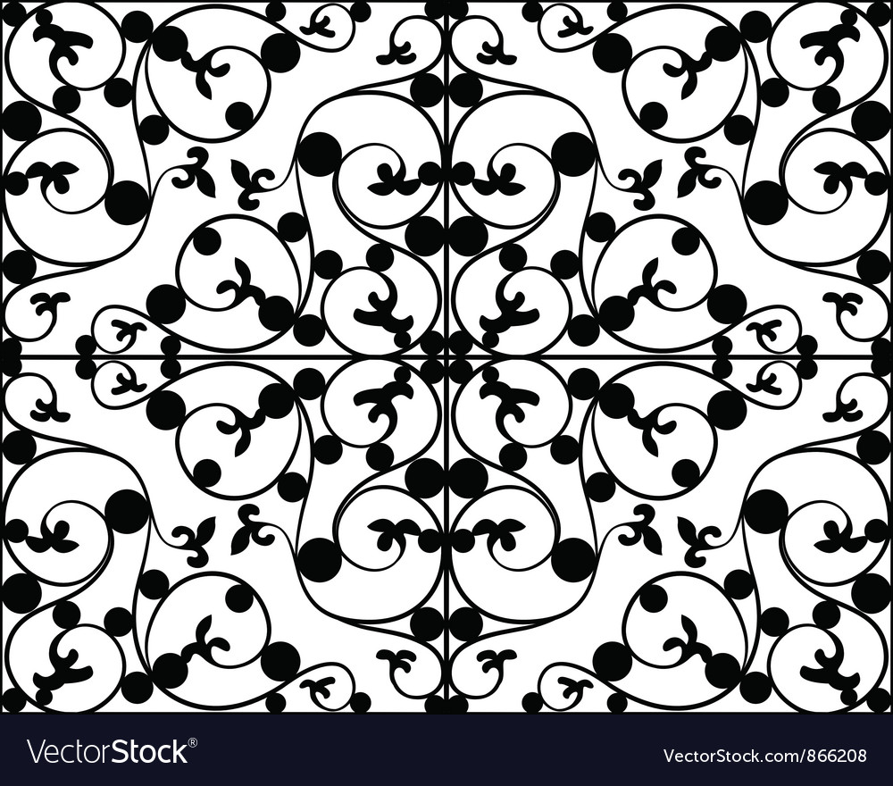 Free wrought iron seamless pattern vector
