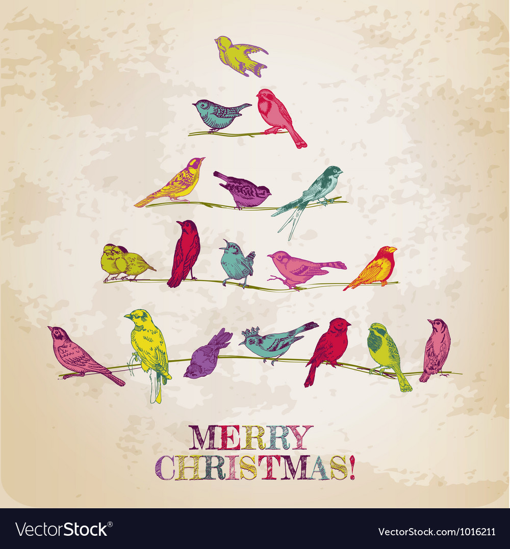 Retro christmas card  birds on christmas tree vector