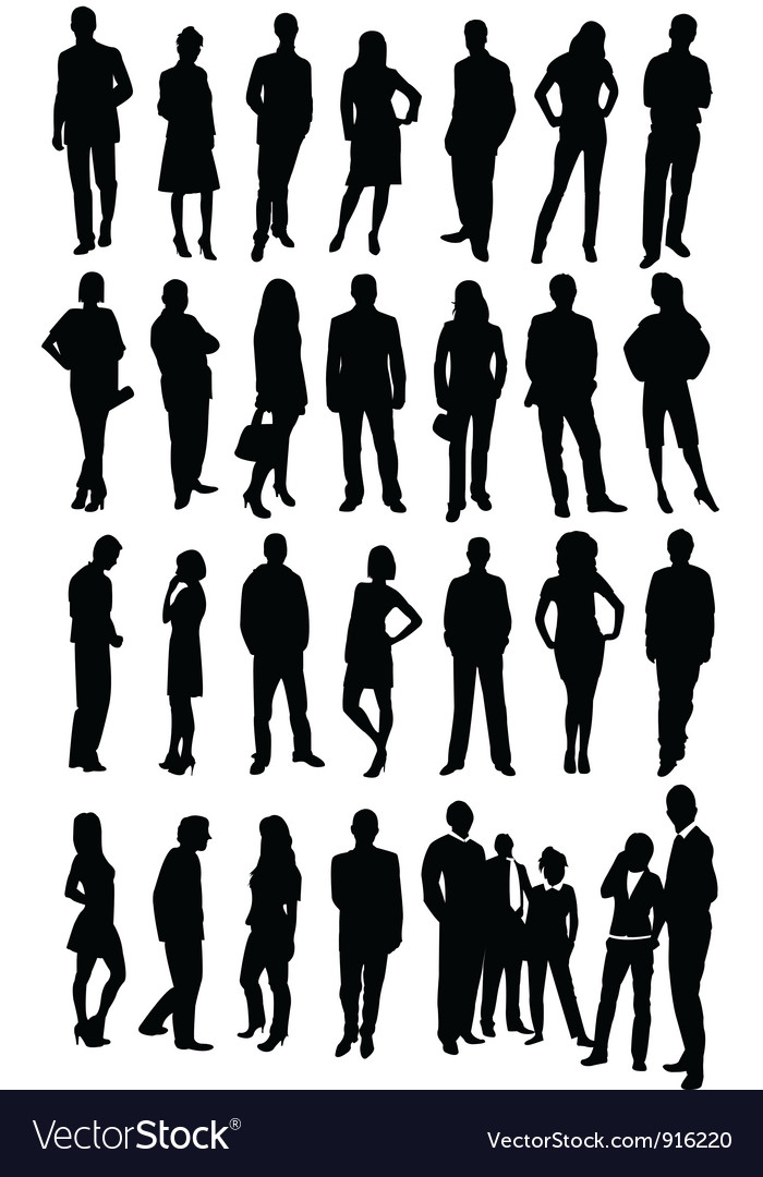 Silhouette business people vector