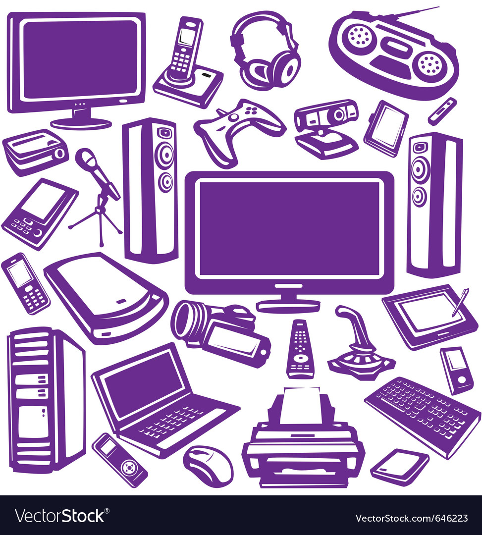 Set of computer and electronics equipment vector
