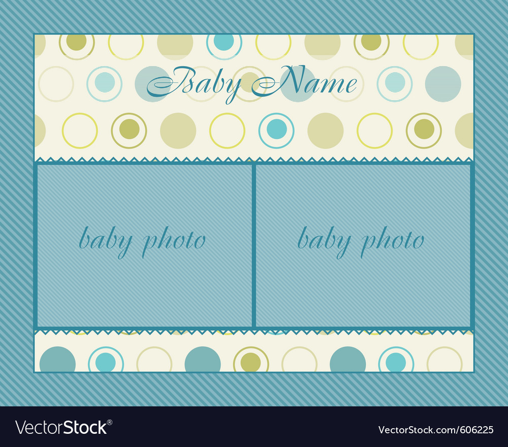 Baby boy arrival card with frame vector