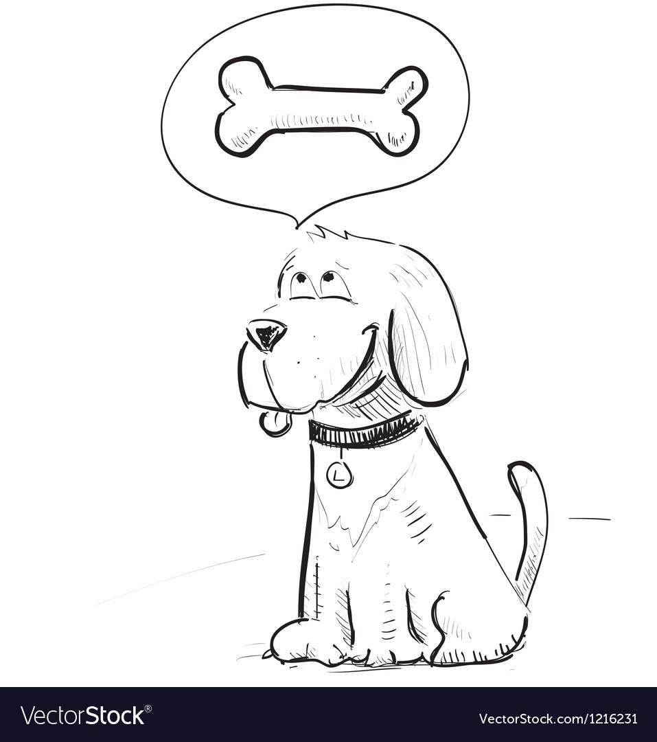 Cartoon dog dreaming about bone vector