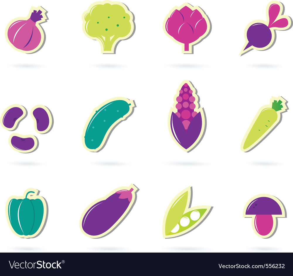 Retro vegetable icons vector