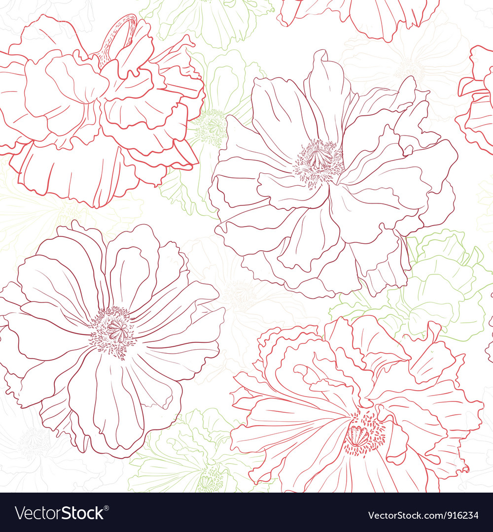 Floral wallpaper with poppy flowers vector