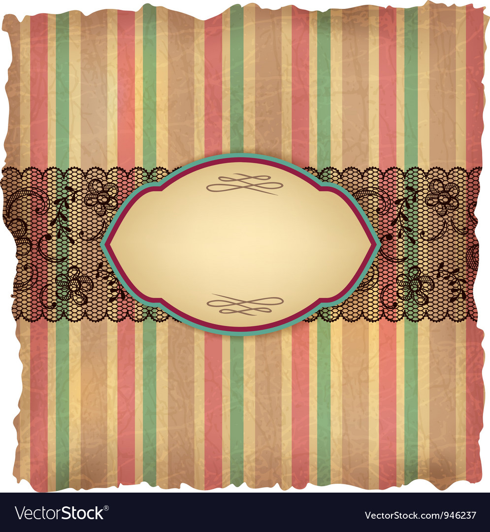 Vintage stripes lace background vector