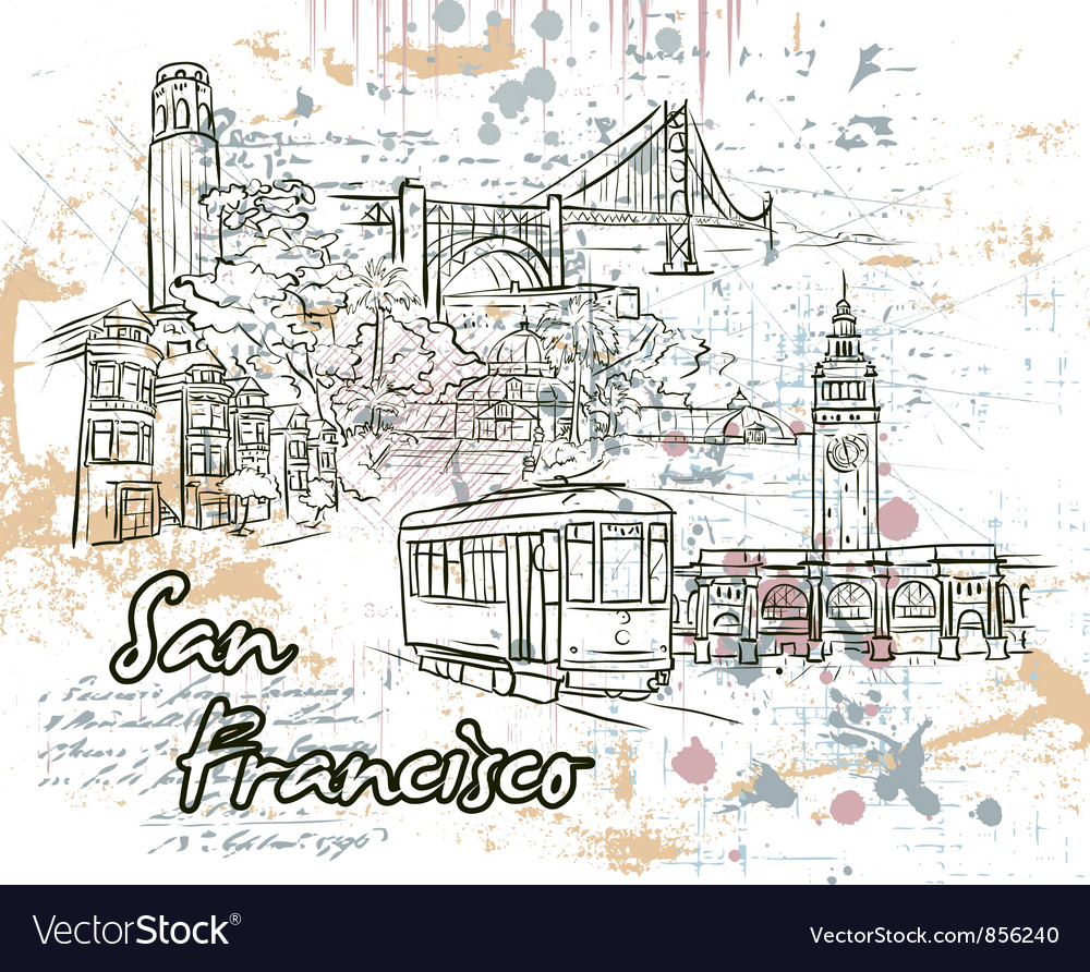 Free san francisco doodles vector