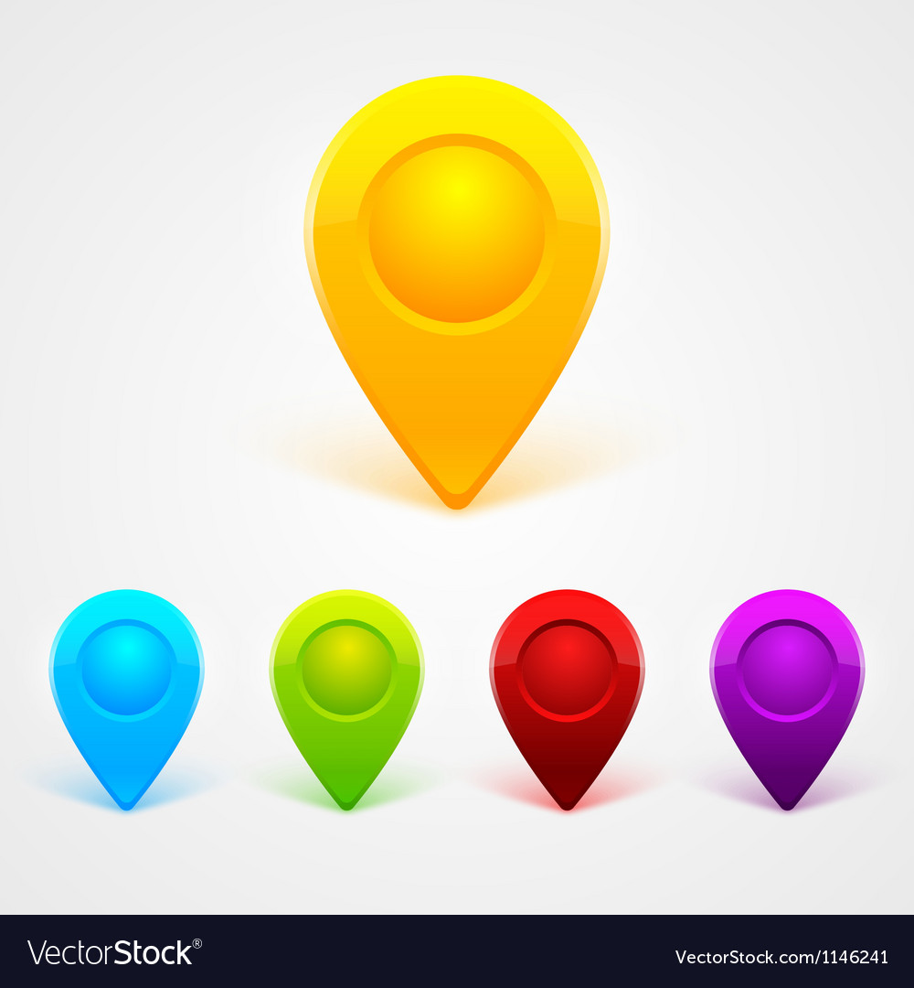 Simple colored gps icons vector
