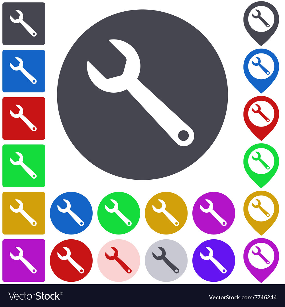 Color wrench icon set