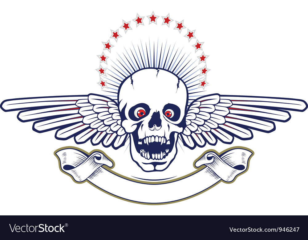 Skull wings vector