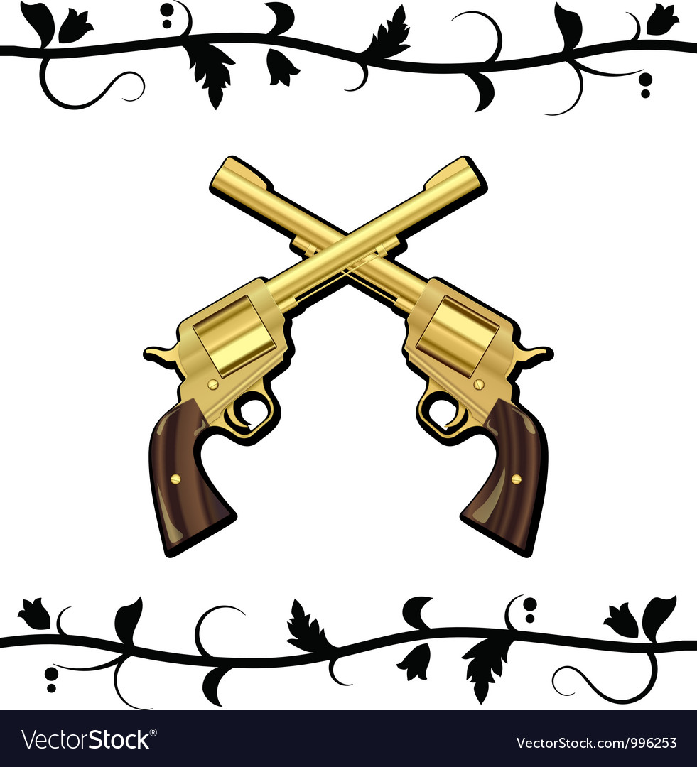 Gold crossed guns vector