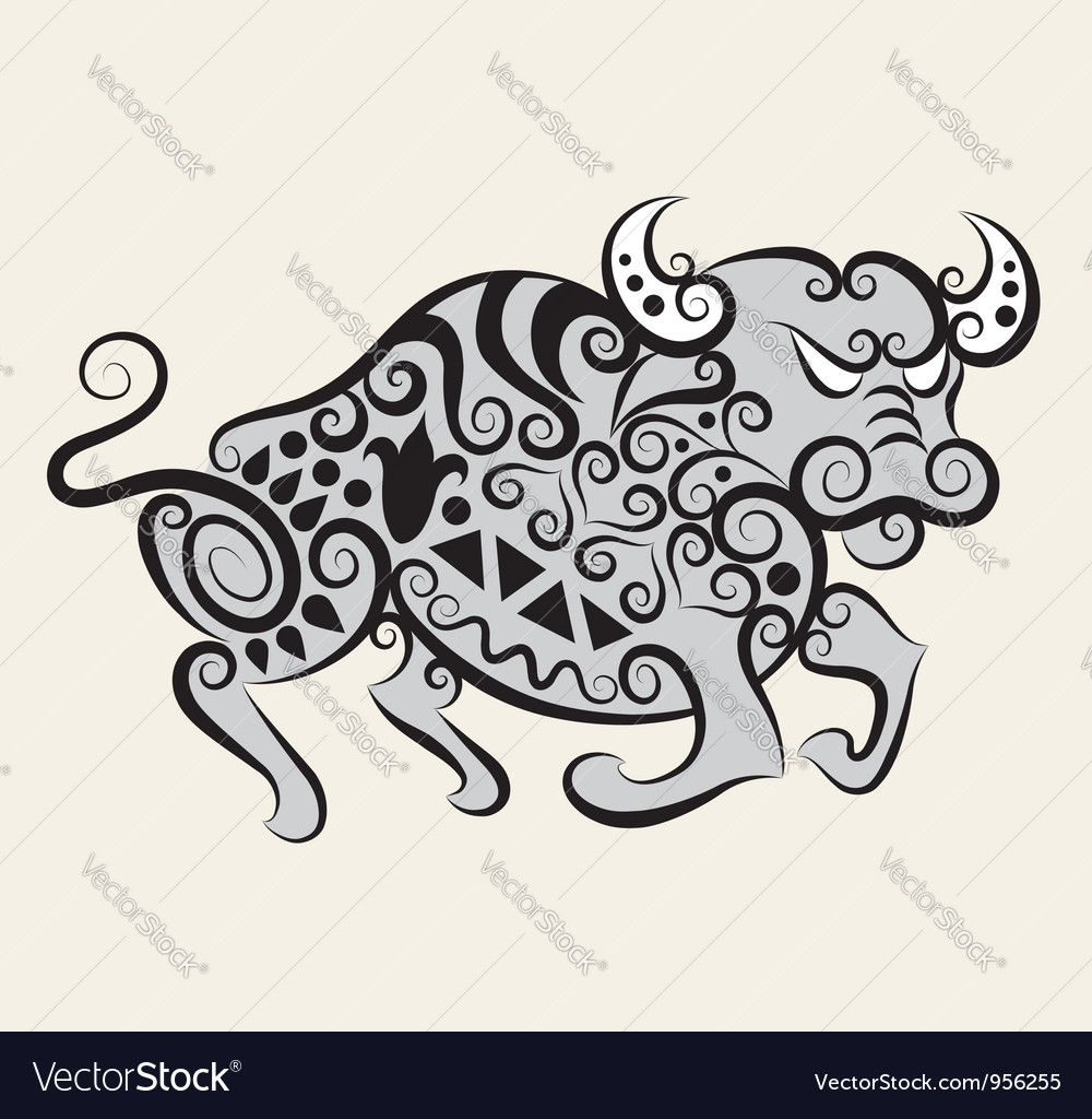 Bull ornament vector