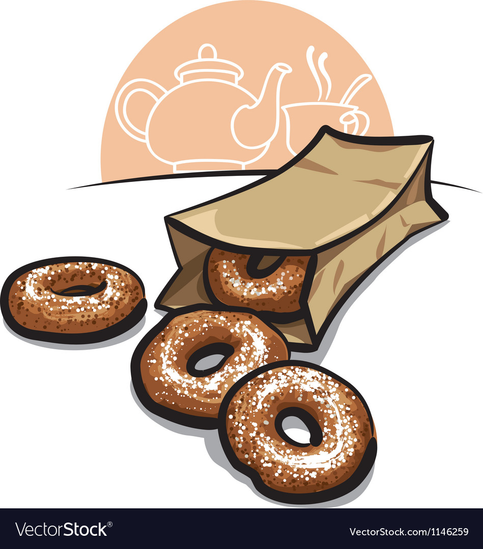Sweet donuts with powder vector