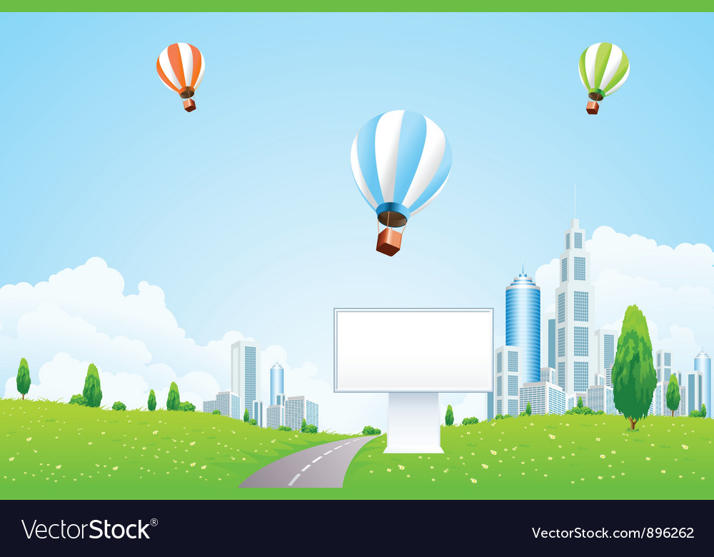 Green city landscape with hot air balloons vector