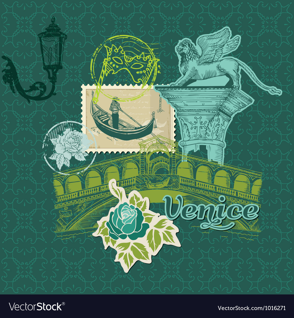 Scrapbook design elements  venice vintage card vector
