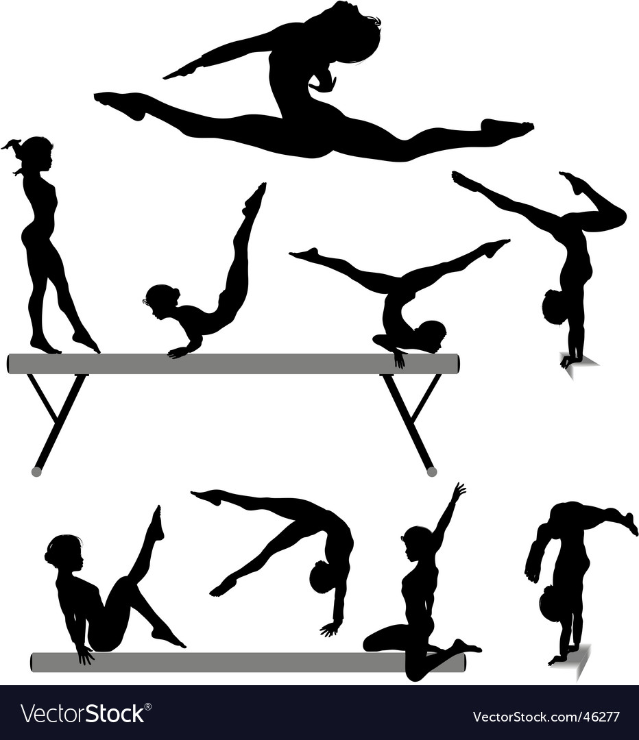Female gymnast silhouettes vector