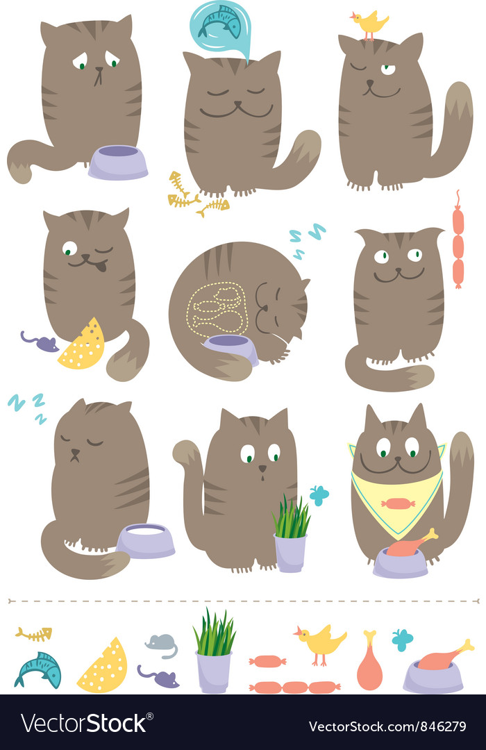 Cats with food vector