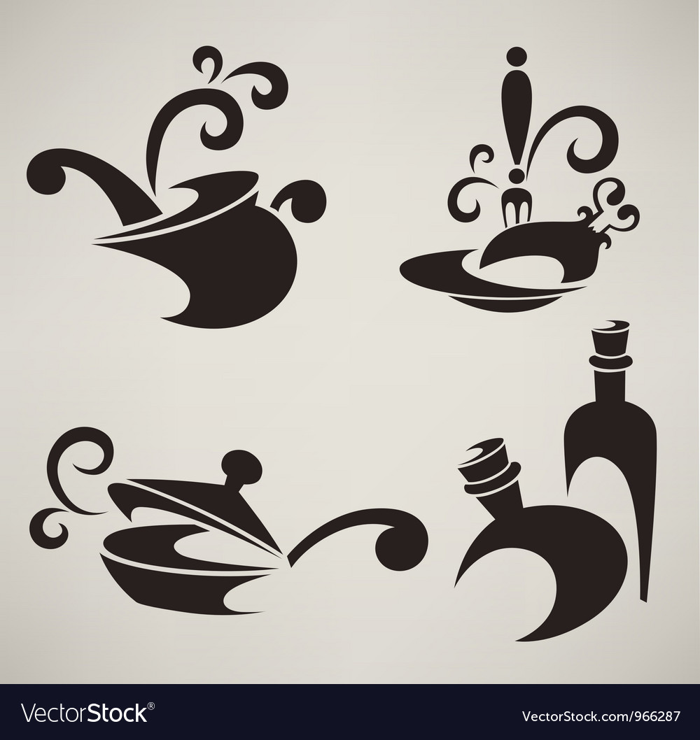 Cooking equipment and food symbols vector
