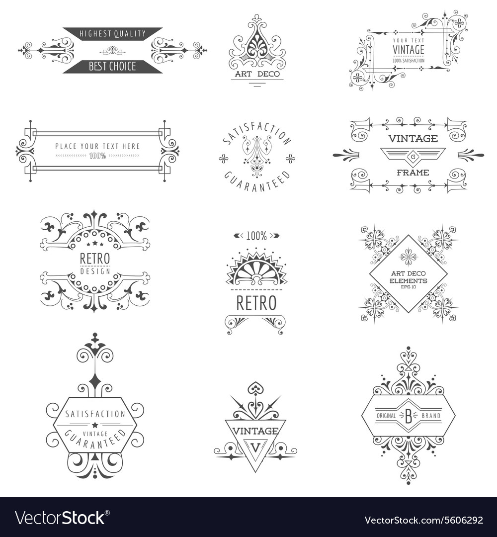 Art Deco Vintage Frames And Design Elements Vector By Woodhouse84