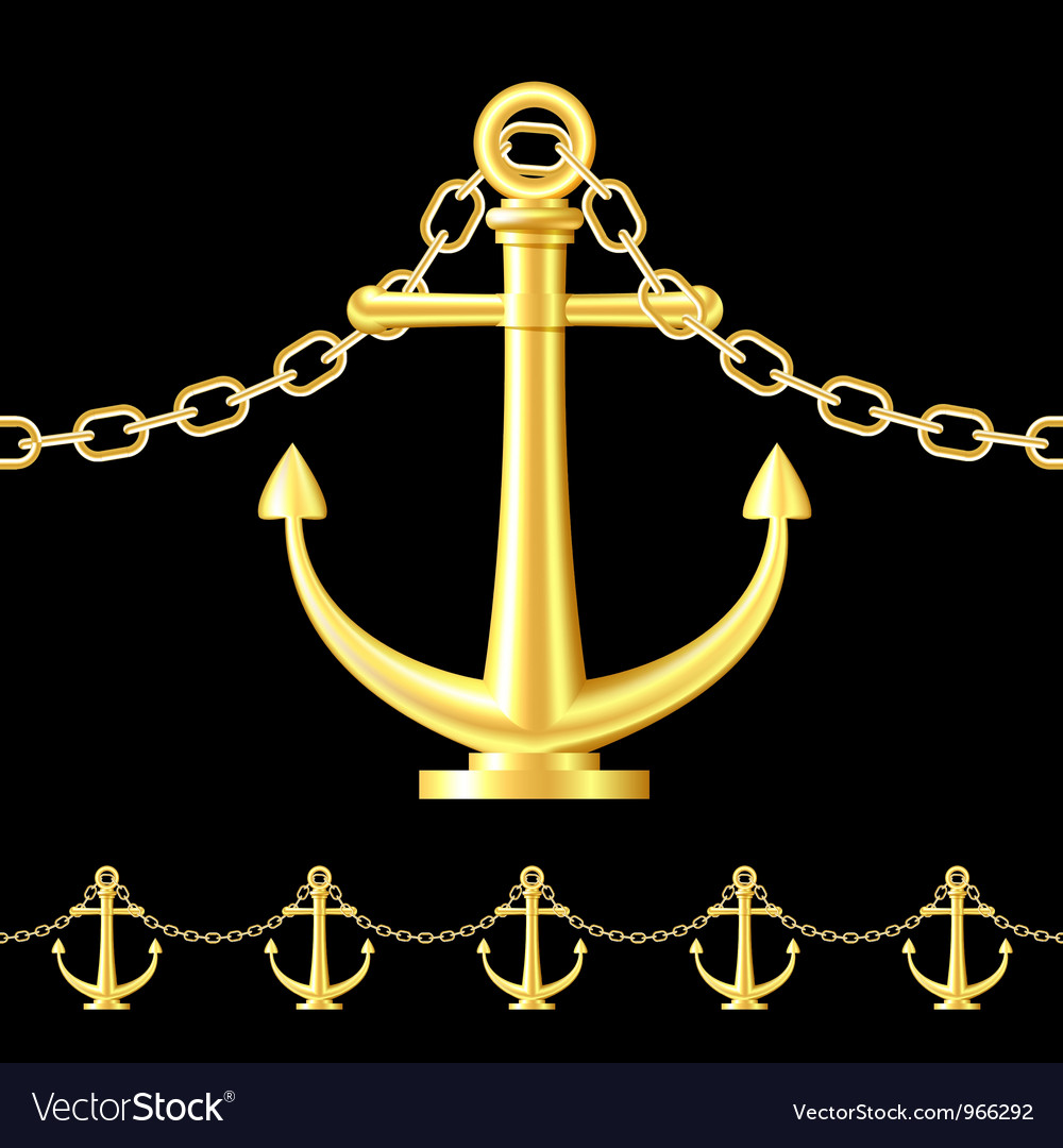 Seamless gold fence featuring an anchor vector