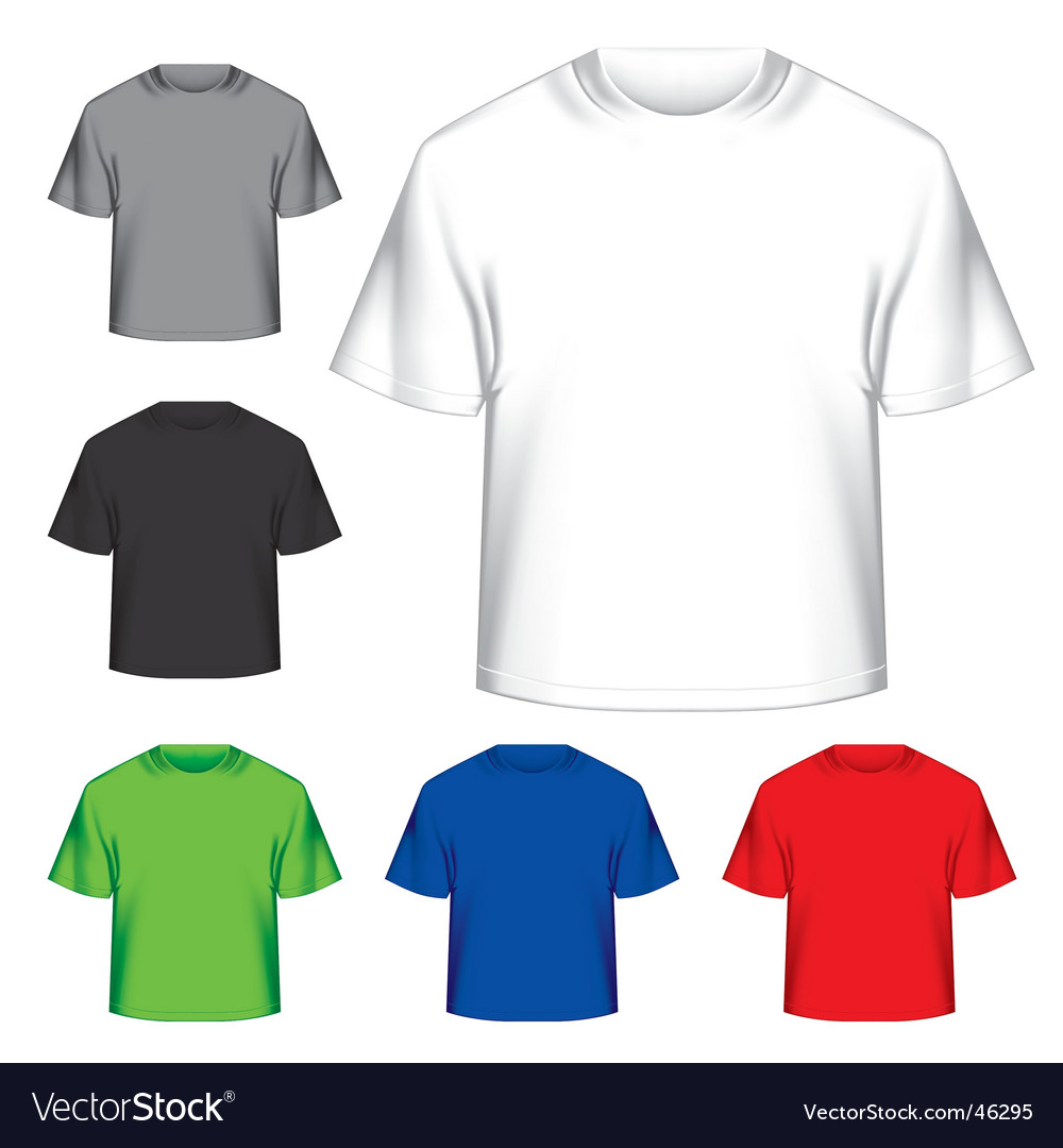 Set of blank tshirts vector