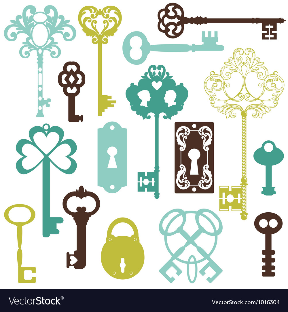 Collection of antique keys vector