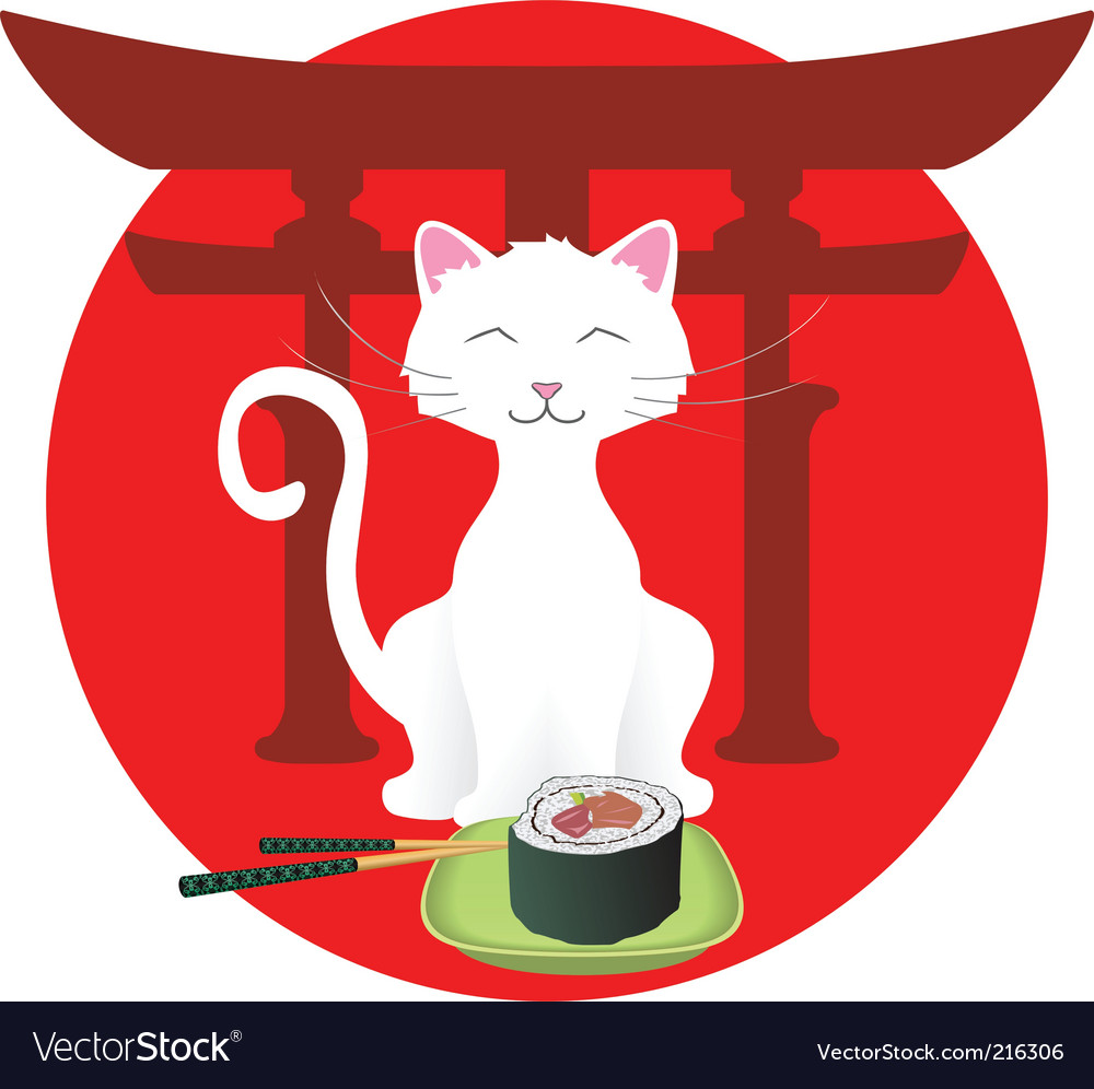 Cartoon cat with sushi vector