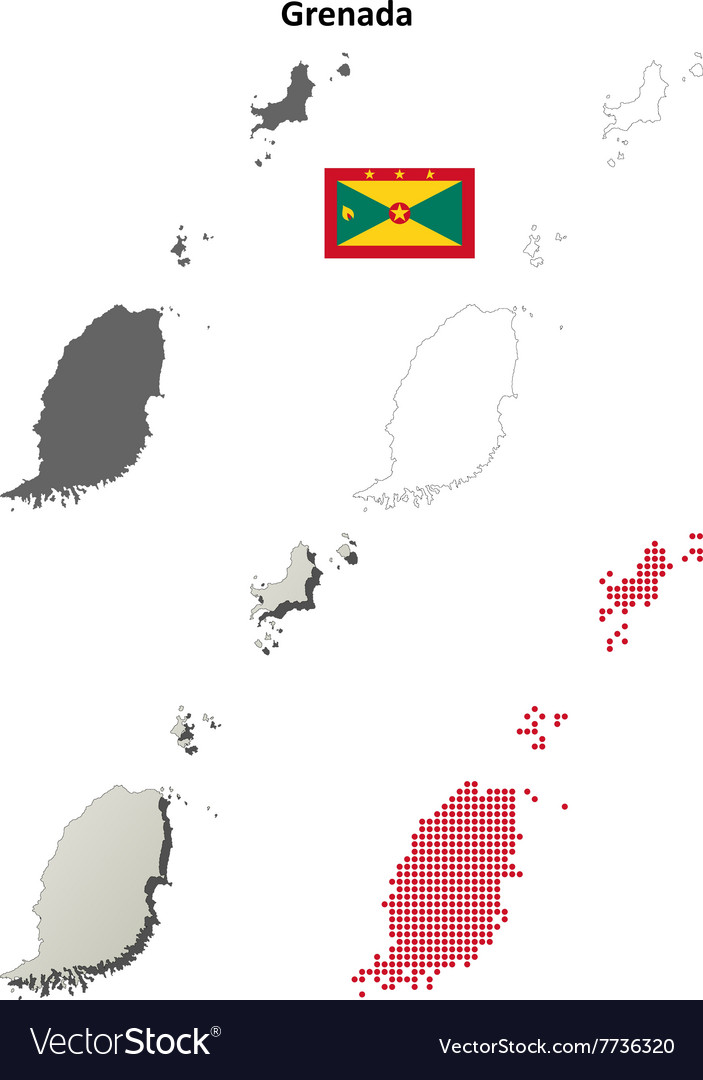 Grenada outline map set